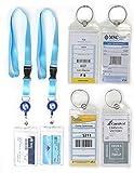 HOPEVILLE Gepäckanhänger und ausziehbare Schlüsselband Lenyards für Kreuzfahrten, 4 Stück robuste wasserfeste PVC Kofferanhänger mit Metallring und 2 Stück hochwertige Lenyards für die Kabinenkarte