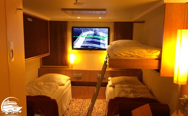Pullman Betten in einer Innenkabine auf AIDAmar