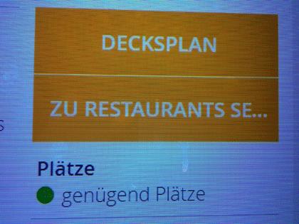 """Screenshot """"Freie Plätze im Restaurant"""" am Infoterminal auf AIDAprima"""