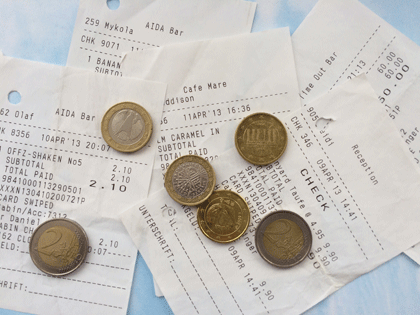 Münzen und Zahlungsbelege