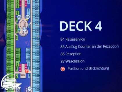 Screenshot Auszug von Deck 4 mit eigener Position und Blickrichtung
