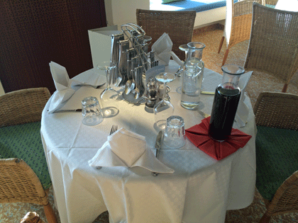 Gedeckter Tisch mit Tischgetränken in Karaffen (Wein und Wasser)