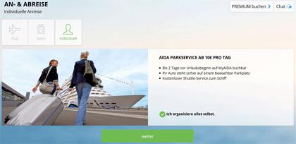 AIDA - Neues Buchungssystem - Schritt 3 - Anreise