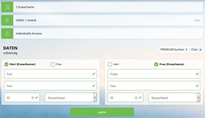 AIDA - Neues Buchungssystem - Schritt 4 - Daten eingeben