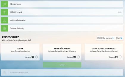 AIDA - Neues Buchungssystem - Schritt 5 - Reiseschutz