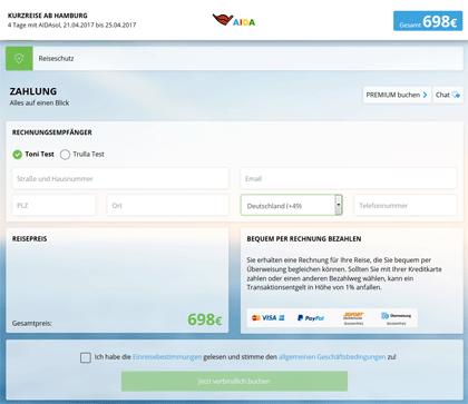 AIDA - Neues Buchungssystem - Schritt 6 - Zahlung
