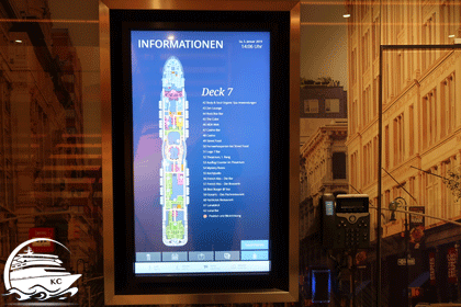 Monitor mit dem Schiffsgrundriss (Deckplan)