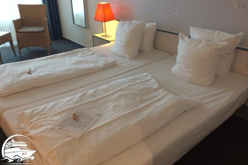 Unser Bett im Hotelzimmer im Center Park Nordseeküste 2017