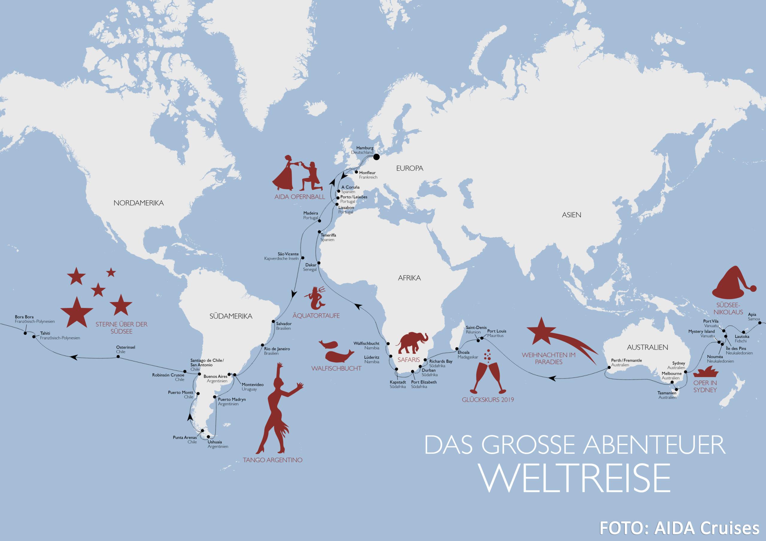 Karte der zweiten AIDA Weltreise mit AIDAaura