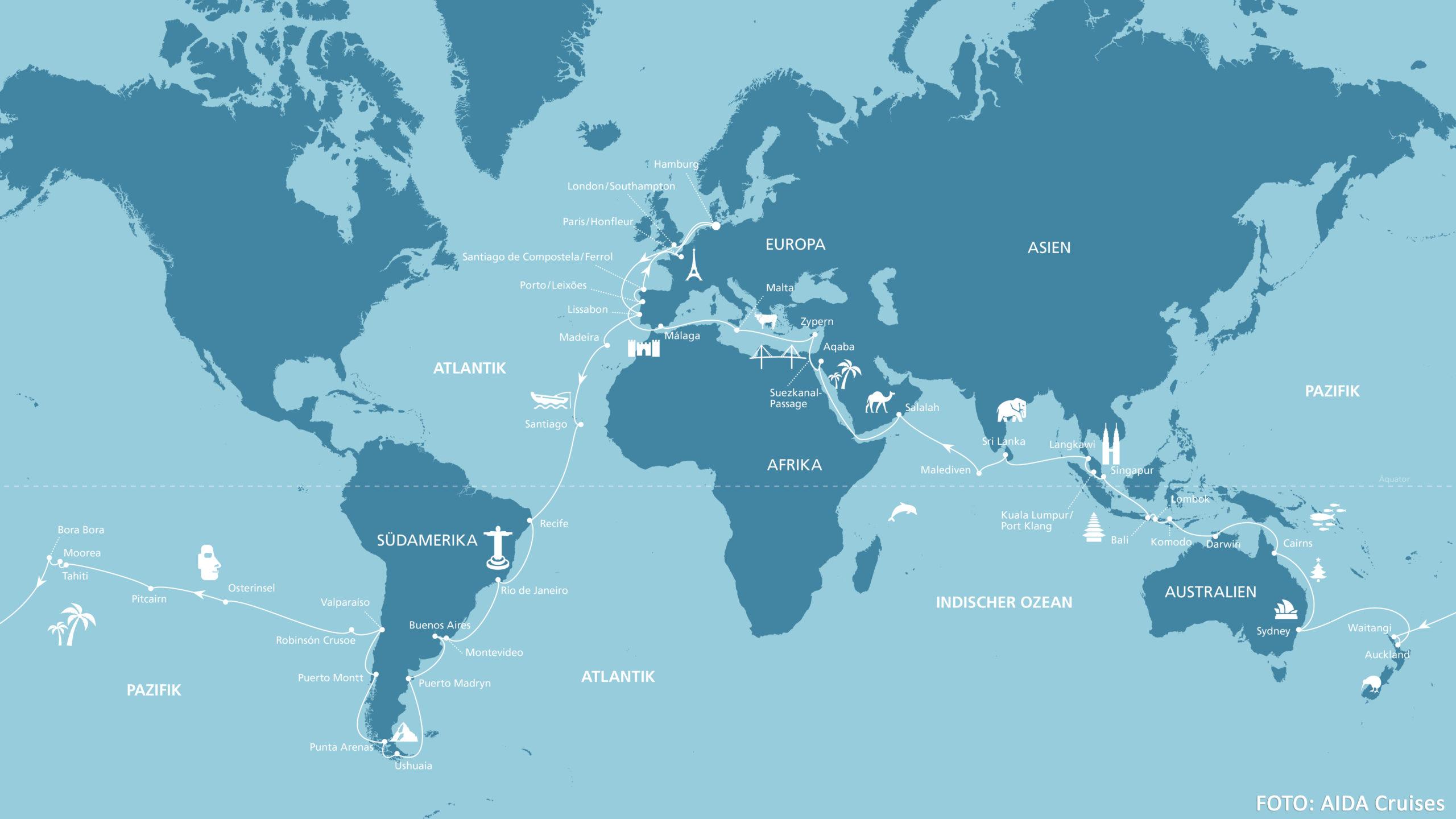 Karte der dritten AIDA Weltreise mit AIDAaura