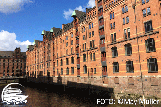Blick auf Gebäude der Hamburger Speicherstadt