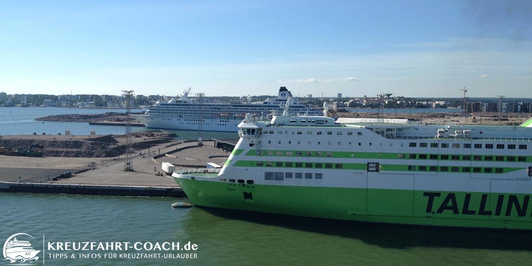 Schiffe im Kreuzfahrthafen von Helsinki