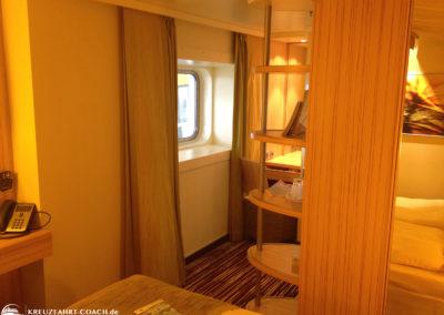 Blick auf das Fenster in der Kabine