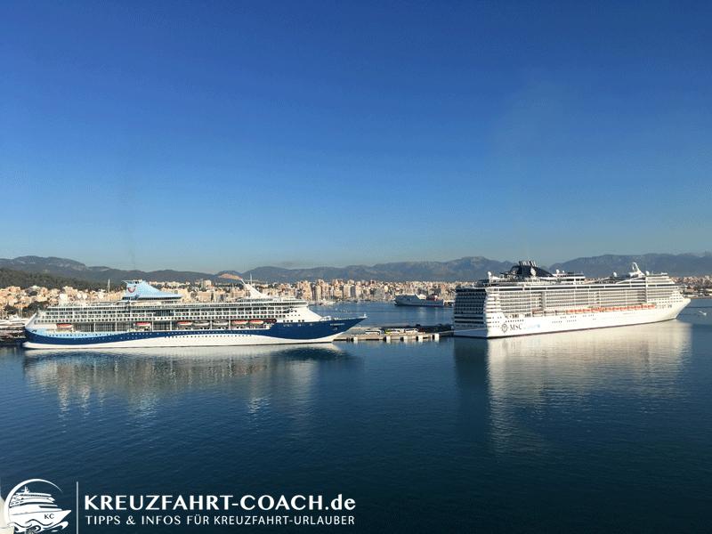 Bei zwei Kreuzfahrtschiffen ist die Abgasfahne zu erkennen.