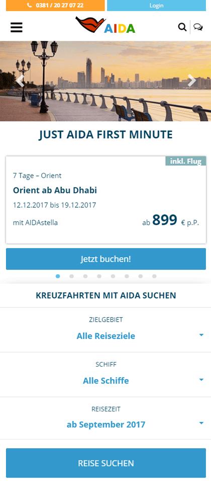 Neue AIDA Homepage -Kleine Darstellung