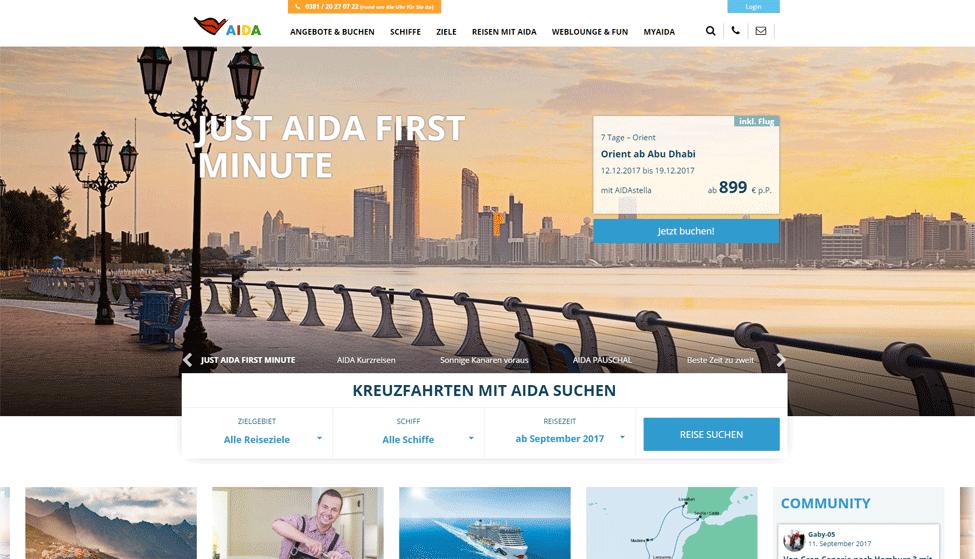 Neue AIDA Homepage