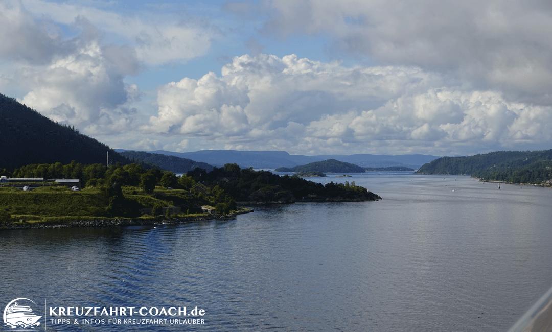 Blick vom Schiff auf den Oslofjord
