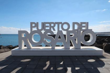 Schriftzug im Hafen von Puerto del Rosario