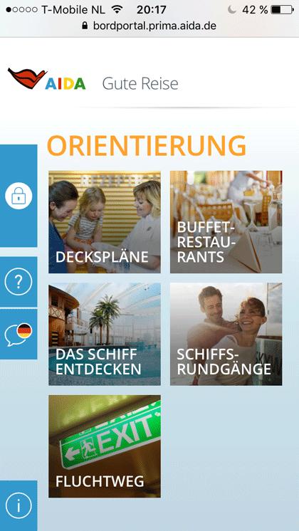 Screenshot vom Bordportal mit Menüpunkt Deckspläne