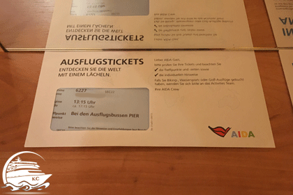 Umschlag mit Ausflugstickets
