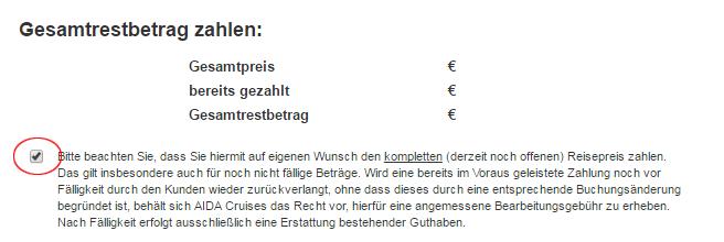 Screenshot Haken setzen bei Restbetrag zahlen